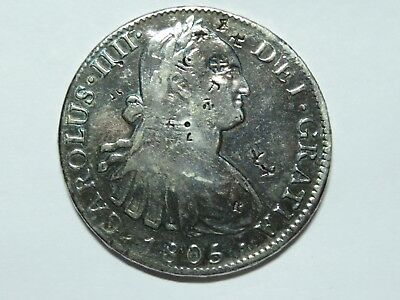 1805MO TH Mexico 8 Reales Charles IIII, Chopmarked, Polished, TH Joint Assayers