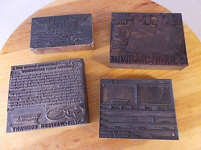 Lot Of 4 Vintage Mid Century Negative Printing Press Stamps Collectibles Antique