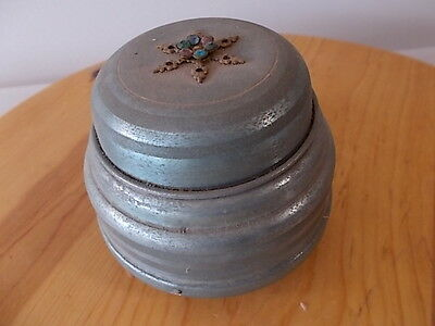 VINTAGE Wind-Up Music Box Powder Puff Trinket Round Metal Music Box Jeweled Top