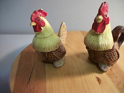 Vintage Rooster And Hen  Salt & Pepper Shaker  Creamer And Sugar Collectibles
