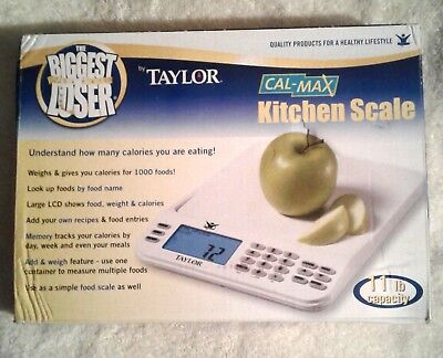 The Biggest Loser® Cal-Max Digital Kitchen Scale 11 lb by Taylor 3847BL NEW #227