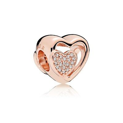 Genuine PANDORA Rose Gold Joined Together Charm 781806CZ Bead