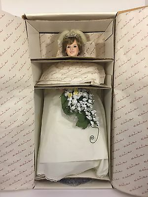 """The Princess Diana Porcelain Bride Doll by Danbury Mint, New In Box 19"""" Stand"""