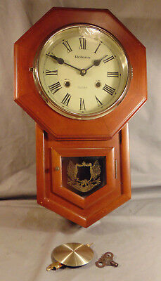 Vintage Rolens 31 Day American Flag Patriotic Drop Trunk Wall Clock w/ Key & Pen