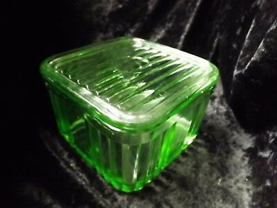 Art Deco Green Depression Glass 1 Pound Butter Dish Gorgeous
