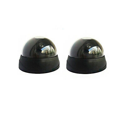 2Pcs Fake Dummy Dome Surveillance Security Camera with RED LED Sensor Light