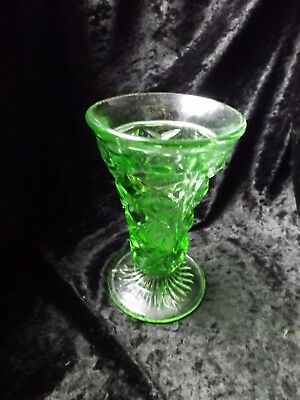 Art Deco Green Depression Glass Vase Lovely