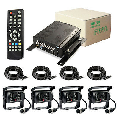 720P 4 Channel Car DVR and H.264 Vehicle Car Video Recorder DVR +  AHD Camera