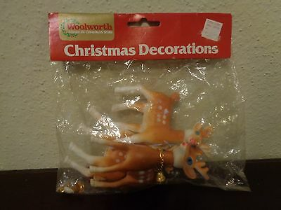 Vintage Woolworth Christmas 3 Plastic Reindeer Move Positioned Head Sealed