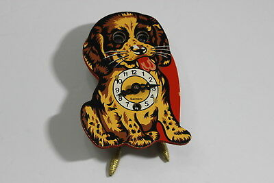 Vintage Wind Up Clock Rolling Eyes Dog Puppy Made In Germany Pendulum Retro Old