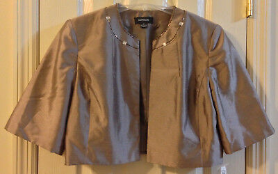 R&M Richards Womens Jacket Short Formal Cocoa Brown Taupe Mocha Size 14 Size L