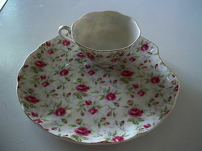 LEFTON ROSE CHINTZ China Clam Lunch Snack Plate & Tea Cup Set