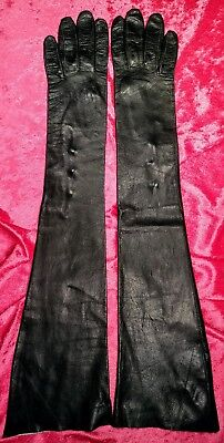Vintage Black Kid Leather Opera Gloves ~ Size 7 ~ Made In Italy for Gimbels