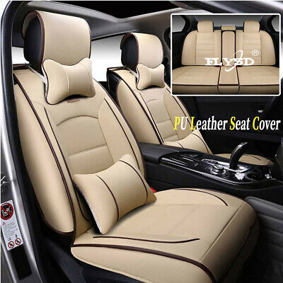 AU Car Seat Covers 5-Seats Front+Rear Cushion PU Leather Mess Pillow All Seasons