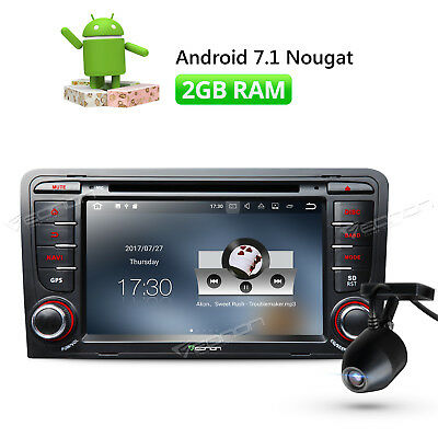 "Android 7.1 Head Unit 7"" For Audi A3 S3 GPS Navigation USB DVR HDMI + Dashcam W"