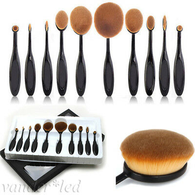 New 10Pcs Professional Makeup Brushes Set Oval Cream Puff Toothbrush Brush Black