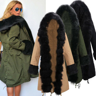 Winter Womens Warm Hoodie Fur Coat Parka Trench Hooded Jacket Outwear Overcoat
