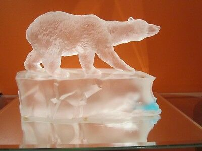 Lalique France Polar Bear And Seal On Ice Art Glass Sculpture Stunning