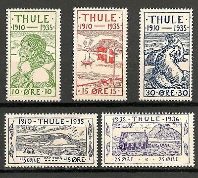 "GREENLAND / THULE ""Thule Region"" 1935-36  Complete Set of 5- MNH VF -Facit T1-5"