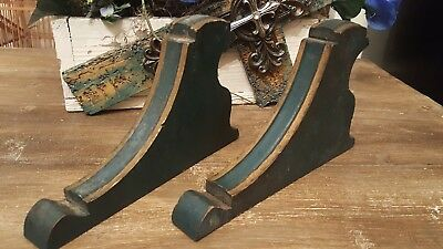 Antique Vintage Wood Corbels Architectural Old Green Paint Brackets
