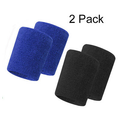 2Pcs Wrist Bands Sweatbands Unisex Cotton for Sports Gym Tennis Running Cycling