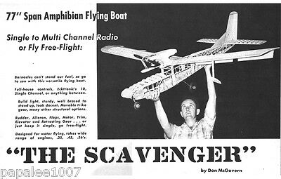 """Model Airplane Plans (RC or FF): Scavenger 77"""" Amphibious Flying Boat .35-.56ci"""