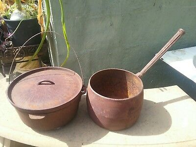 Old Cast Iron Saucepan And Camp Oven ~ Rusted Garden Ornaments ~ Heavy