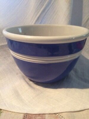 Vintage Early Mark R. Fowler Ware Blue Striped Mixing Bowl