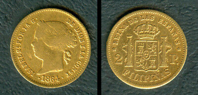 2 Pesos 1864 ISABEL II SPANISH PHILIPPINES Spain Filipinas GOLD COIN