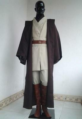 251ac09632 Adult Wan Star Wars Obi Kenobi Jedi Knight Suits Cloak Cosplay Complete  Costume
