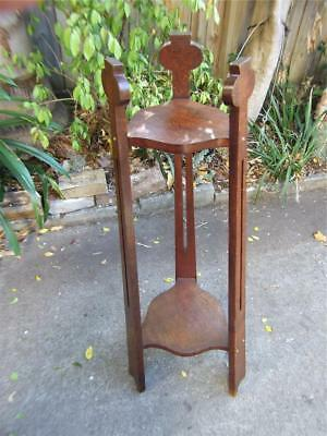 Antique  Art Nouveau Australian Silky Oak 2 Tear Plant Stand C.1910