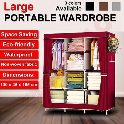 Large Portable Clothes Closet Canvas Wardrobe Storage Organizer with Shelves