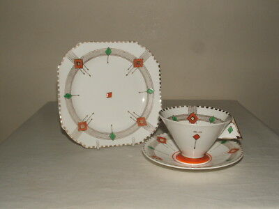 Shelley Art Deco Vogue Shaped Diamonds  Tea Trio Truly Stunning