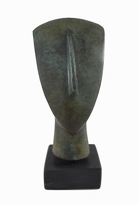 Cycladic Head Bronze marble based Aged sculpture artifact collectible