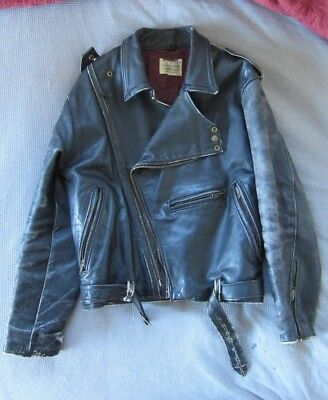 Real Vintage Aussie Made Leather Motorcycle Jacket, Cafe Racer / Brando Style