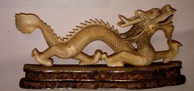 HIGH ANTIQUE QUALITY RARE scultura Drago in materiale pregiato