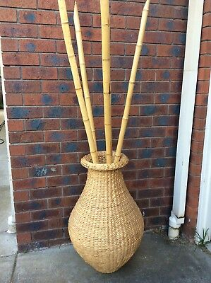 Large Seagrass Vase/ Urn With Bamboo Sticks