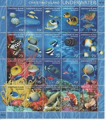 CHRISTMAS ISLAND - UNDERWATER - Sheet of Beautiful Stamps