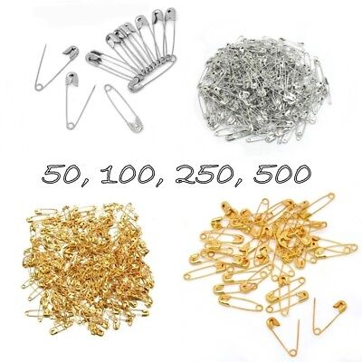 50/100/250/500 SAFETY PINS Gold Silver 19/31mm Craft Dressmaking Sewing