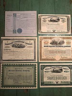 Lot of 6 Maine railroad stock certificates