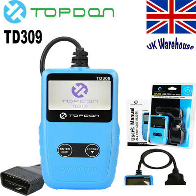 Topdon TD309 OBD2 OBDII Car Diagnostic Scanner Reset Code Reader Tool CAN BUS UK