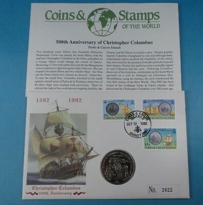 1991 First Day Cover Turks & Caicos Crown Coin Columbus Collection & Cert