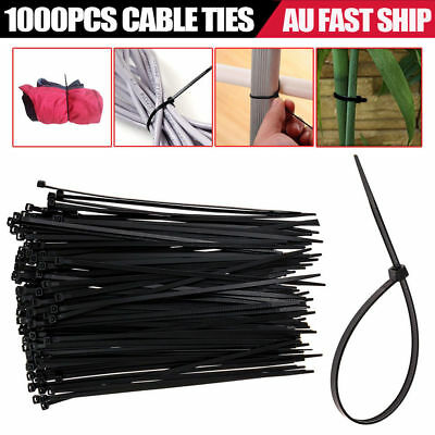 1000 x Bulk Cable Ties Zip Ties Black (4.8mm x 300mm) Nylon UV Stabilised