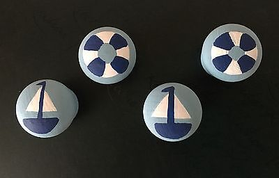Set Of Four Hand Painted Pine Door Knobs Drawer Handles Draw Pull -25mm Drilled