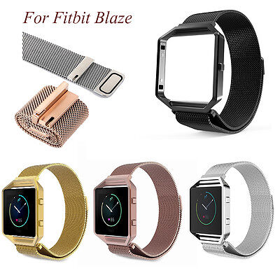 Milanese Magnetic Stainless Steel Wrist watch Band Strap Frame For Fitbit Blaze