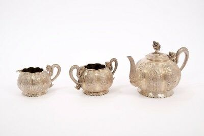 Antique Chinese Solid Silver 3 Piece Tea Set TU MAOXING