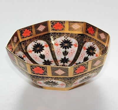 Royal Crown Derby Imari 1128, Octagonal Fruit Bowl, 9.5 Inches. A/F