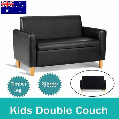 Storage Kids Sofa Children lounge Arm Couch Chair PU Leather Padded Seat Black