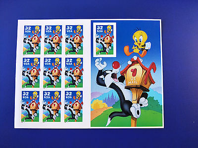 US 32c Tweety and Sylvester Stamp Sheet Mint Never Hinged