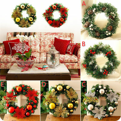 Christmas Wreath Door Wall Xmas Ornaments Garland Flower Pine Fruit Decoration